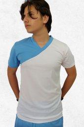 Modapalace Turkuaz Beyaz Modelli V Yaka Spor Tişört