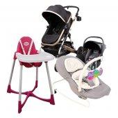 4'lü Set - Bebek Arabası (NORFOLK marka), Puset-Oto Koltuğu (NORFOLK marka), Ana Dizi (Vauva Pronto marka), Mama Sandalyesi (Pilsan marka)