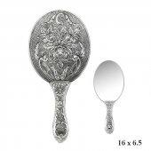 Gümüş 925 Ayar Gül Desenli El Aynası