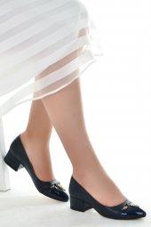 Ayakland 575 1136 Babet 5 Cm Topuk Bayan Cilt Ayakkabı Lacivert