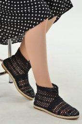Ayakland 1400 Günlük Bayan Örgü Desenli Babet Ayakkabı Siyah