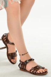 Ayakland 3260 Parmak Arası Günlük Kemerli Bayan Sandalet Terlik Kahverengi