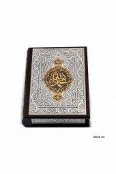 Gümüş Altın Yaldızlı Kuran I Kerim El İşi İşlemeli Hediyelik Değerli Eşya