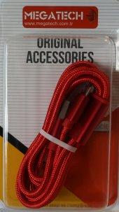 Megatech 3in1 Iphone Micro Typ C Hasır Örgülü Kırmızı Kablo 1mt