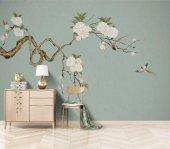 Mavi Arka Plan Ağaç Beyaz Çiçek Kuş Özel Tasarım Duvar Kağıdı