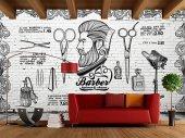Erkek Berber Saç Sakal Ağda Graffiti Özel Tasarım Duvar Kağıdı