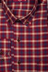 Erkek Çızgili Klasik Kesim Bordo Gömlek Desen 10