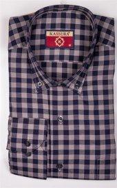 Erkek Çızgili Klasik Kesim Laci Bej Gömlek Desen 1