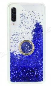 Samsung Galaxy A70s Simli Sulu Yüzük Tutuculu Mavi Rubber Kılıf