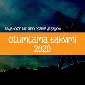 Olumlama Ahşap Tabanlı Masa Takvimi 2020