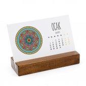 Mandala Renkli Yatay Tasarımlı Masa Takvimi