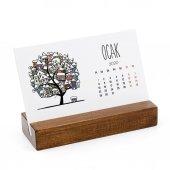 Mevsim Ağaç Yatay Tasarımlı Masa Takvimi