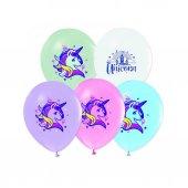 TUN9044 12li Unicorn 4+1 Baskılı Balon / BMB1110TUN9044
