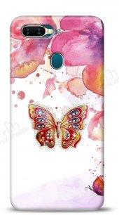 Oppo Ax7 Oppo A5s Colorful Butterfly Taşlı Kılıf