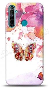 Realme 5i Colorful Butterfly Taşlı Kılıf