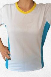 Modapalace Yanları Turkuaz Modelli Büyük Beden Kadın Spor Tişört