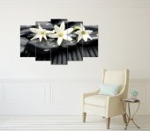 Beyaz Çiçekler Siyah Taşlar Dekoratif 5 Parça...