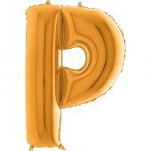 P Harf Grabo Altın Folyo Balon 102 Cm