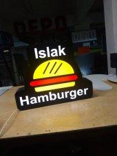 Islak Hamburger Yazılı Tabela 3D LED Tabela Neon Etkili Işıklı Kutu Harf Tabela 30x45cm Pleksiglass