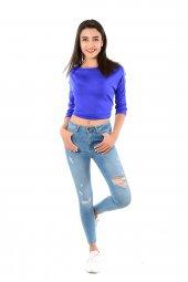 Kadın Kolları Şeritli Saks Mavi Sweat 102byk06005