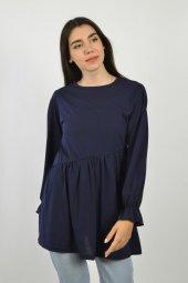 Kadın Lacivert Çapraz Dikişli Kolu Lastikli Tunik