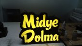 30x45 cm Sarı Renk Yazılı Midye Dolma Midyeci Tabela 3D Led Tabela Neon Etkili Işıklı Tabela