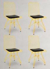 Chic Life Sarı 4 lü Tel Sandalye