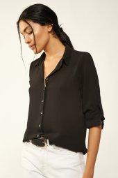 Kadın Önü Düğmeli Siyah Gömlek 3723