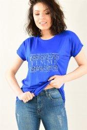 Kadın Bisiklet Yaka Femme Taşlı Saks Mavi Tshirt