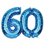 60 Yaş Balonu Mavi Puanlı 90 cm