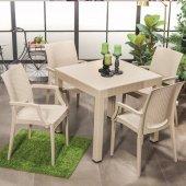Rattan Kollu 4 Sandalye Masa Takımı Bahçe...