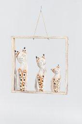 Ahşap Çerçeve Üçlü Kedi Duvar Süsü Kahve 30 cm
