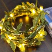 Yapraklı Dekorlu 3 Metre Peri Led Işık Yılbaşı Süsü Günışığı