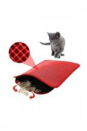 Elekli Kedi Tuvalet Önü Paspası-Kırmızı