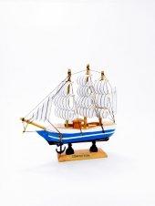 Ahşap El Yapımı Tekne Yelkenli Maketi Dekoratif Hobi 15 cm F