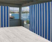 Ceylan Home Balkon Perdesi Turkuaz Beyaz  Çizgili 150x250