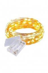 Peri Led Pilli 5 Metre 50 Led Süs Sarı Işık...
