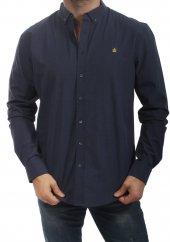 Erkek Klasik Kesim Ekose Desen İndigo Gömlek