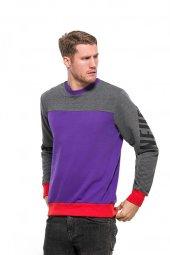 Karinmoda Erkek Günlük Kışlık Mor Gri Baskılı Sweatshirt