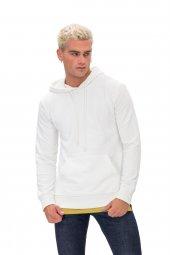 Karinmoda Günlük Erkek Sweatshirt Kapşonlu Beyaz