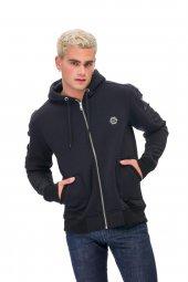 Karinmoda Günlük Erkek Sweatshirt Kolları Nervurlu Siyah Cepli