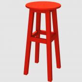 Ahşap Tabure 65cm Kırmızı İskelet Tabla Renk Seçenekli