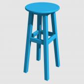 Ahşap Tabure 65cm Gök Mavi Renk İskelet Tabla Renk Seçenekli