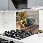 Disegno Cam Ocak Arkası Koruyucu 50x50 Cm Zeytin Desenli