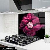 Disegno Cam Ocak Arkası Koruyucu 50x50 Cm Pembe Çiçek Model