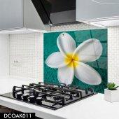 Disegno Cam Ocak Arkası Koruyucu 50x50 Cm Beyaz Çiçek Model
