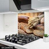 Disegno Cam Ocak Arkası Koruyucu 50x50 Cm Buğday Ekmeği Desenli