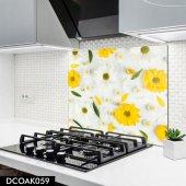 Disegno Cam Ocak Arkası Koruyucu 50x50 Cm Sarı Çiçek Desenli