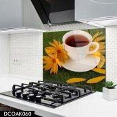 Disegno Cam Ocak Arkası Koruyucu 50x50 Cm Beyaz Fincan Desenli