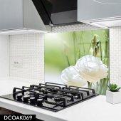Disegno Cam Ocak Arkası Koruyucu 50x50 Cm Beyaz Çiçek Desenli